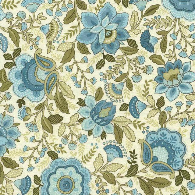 Emma-C1736 Jacobean Floral Aqua Timeless Treasures Priced Per ½ Yd