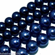GLASS PEARLS BEADS DARK BLUE 4MM BEAD STRANDS