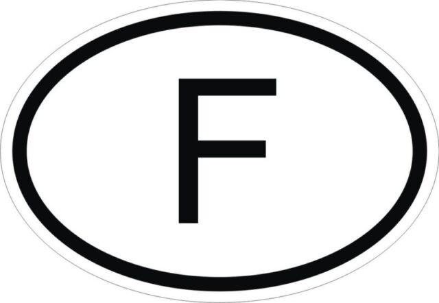 F france country code oval sticker for bumper car truck fridge boat laptop door