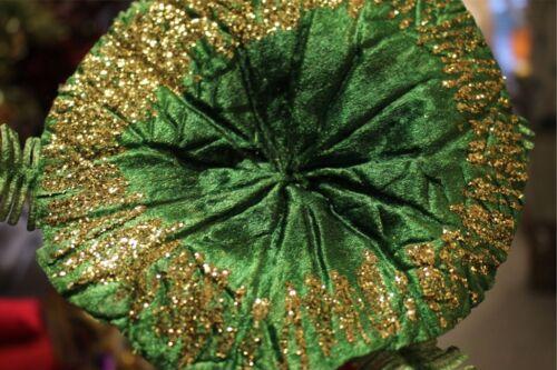 Seerosenblatt Grün von Goodwill Blume Blüte Blatt Velour Gold Glitter 60cm