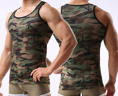 Mens Camouflage Military Army Muscle GYM Sports Sleeveless T-Shirt Tank Top Vest