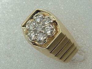 14k Men S Diamond Ring 14 Karat Gold 1 25 Carat Diamond Cocktail Cluster Ring Ebay