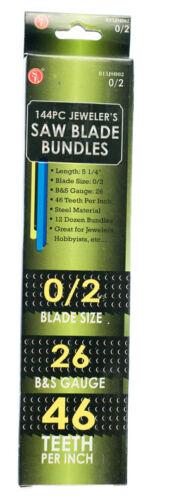 144pc Lames de Scie Bijoutiers métal outil de coupe Taille 2//0 #815JSB02 US Free Chargeur