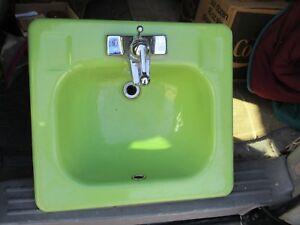 Details About Vintage Kohler Green Porcelain Enameled Bathroom Sink Wall Mount Mid Century