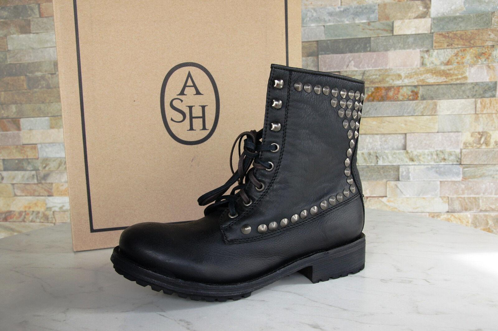Ash Taille 39,5 Bottes à Lacets Chaussures Ralph Noir Neuf Autrefois