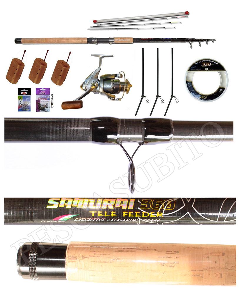 Kit Completo Ledgering Canna Telescopica Samurai  Mulinello XC  accessori