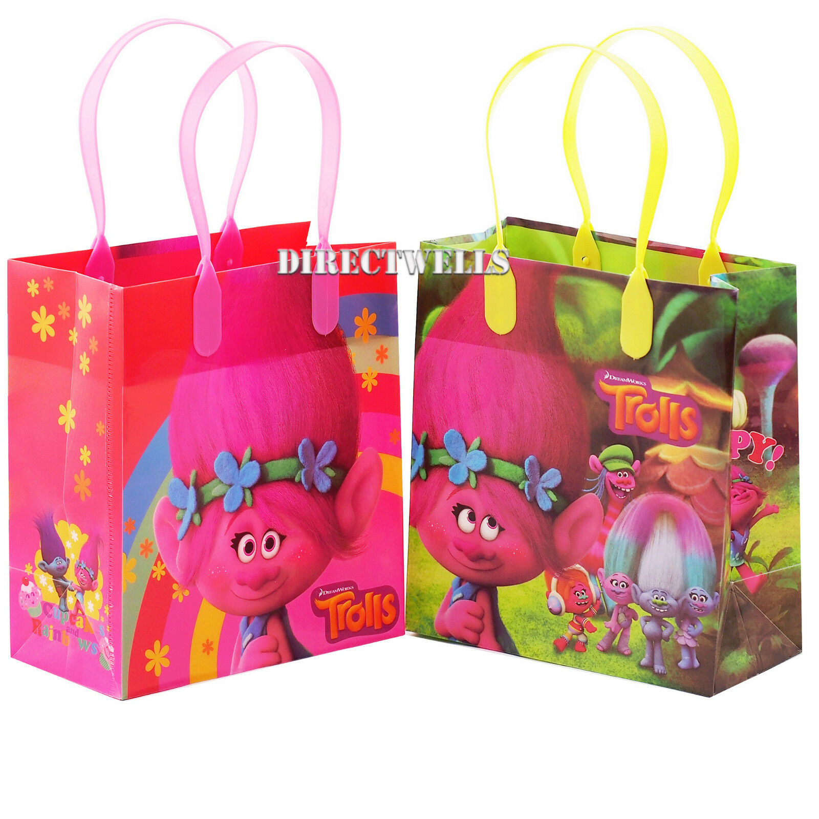 12 PK TNT Party Favor Bags with Handles Assorted Colors