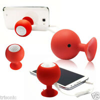 Mini Silicone Waterproof Speaker Stereo Suction Cup Audio Stand Holder Red