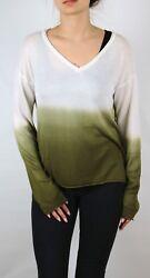 Damen Pullover in creme khaki grün Farbverlauf Batik 32 bis 46 Viskose neu 52918