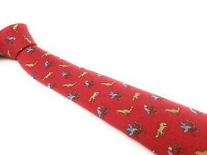 HERMES-PARIS-Tie-7764-FA-Foxes-and-Birds-Raven-Red-Beige-Blue-Whimsical-Necktie