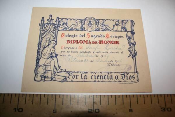 % Diploma De Honor, Colegio Del Sagrado CorazÓn, Vitoria, 1954