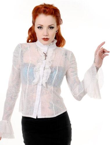 BANNED Steampunk Gothique Victorien Clé sheer floral dentelle chemisier chemise frill