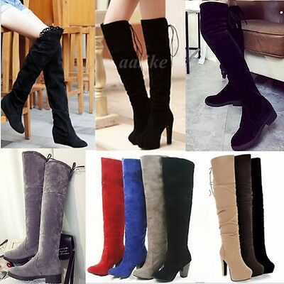 Fashion Winter Women Over The Knee Long Thigh Stretch High Heels Platform Boots
