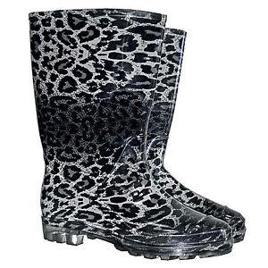 gummistiefel damen wellingtons regen stiefel wellis leopard muster gr 36 42 ebay. Black Bedroom Furniture Sets. Home Design Ideas