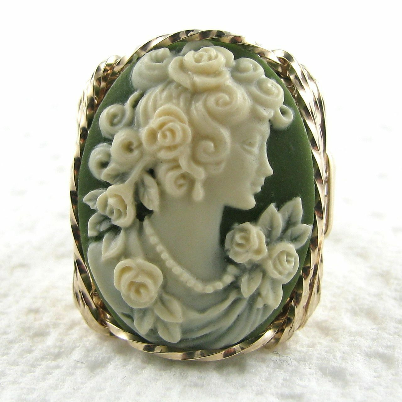 pink Grecian Goddess Cameo Ring 14K Rolled gold Jewelry Green Resin Any Size