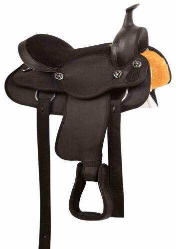 Western Pleasure Trail Round Skirt Horse Black Gaited Saddle Tack Set