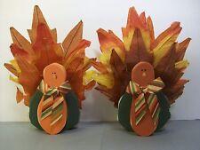 Primitive Crepe Paper Wooden Handmade Thanksgiving Turkeys Leaves Table Decor