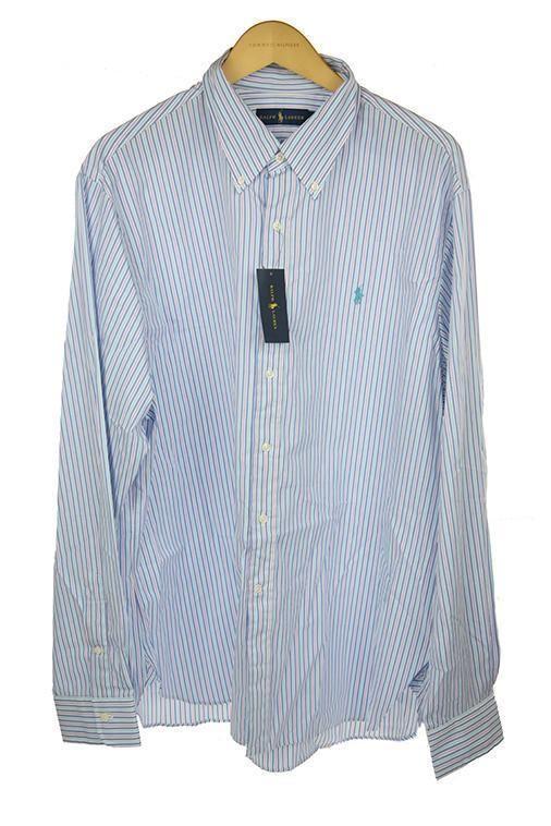 Ralph Lauren turquoise Weiß striped shirt Größe 17 90 PO33       Garantiere Qualität und Quantität