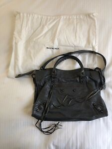 5ebdd4c99b Image is loading Balenciaga-Arena-Leather-Classic-City-Bag-Gris-Fossile