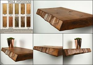 Floating Shelves Waney Edge Rustic Chunky Wooden Handmade Wax Finish 20 to 160cm
