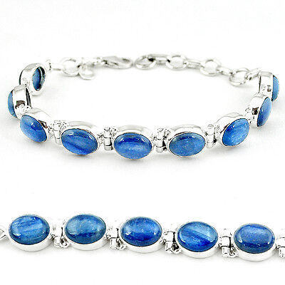 NATURAL BLUE KYANITE OVAL 925 STERLING SILVER TENNIS BRACELET JEWELRY K27509