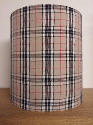 """8"""" Ampi 8"""" """"tall Tamburo Paralume Kit In Thompson Marrone Caramello Tartan Tessuto Check- Rinfresco"""