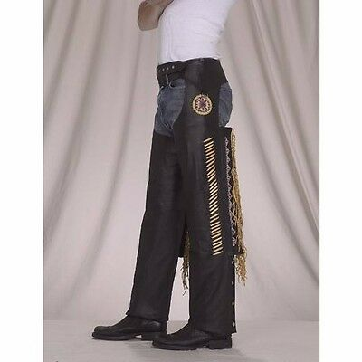 Men's Black Leather Chaps With Mustard Yellow Trim ,Fringe,Bone Beading