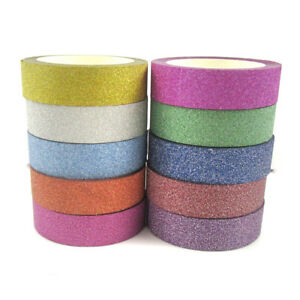 10m-PER-ROLL-WASHI-TAPE-GLITTER-COLOURS-SCRAPBOOKING-PAPER-CRAFTS-CARDS-HOBBY