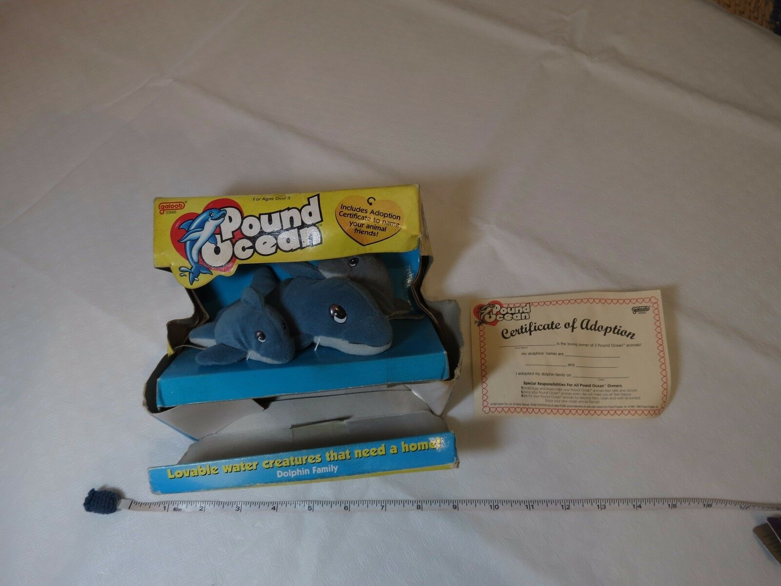 Galoob Pound puppies Ocean Dolphin family plush adoption RARE 30666 3 1998 NOS