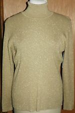 DG2 Diane Gilman Stylish Gold Metallic Blend Turtleneck Sweater Size Large NWT