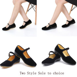 Womens-Chinese-Traditional-Velvet-Ballet-Shoes-Cotton-Flats-Mary-Jane-Shoe-Black