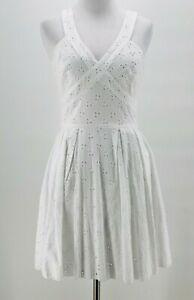 Crystal-Doll-Juniors-White-Eyelet-V-Neck-Zip-Down-Back-Sleeveless-Dress-3-NEW