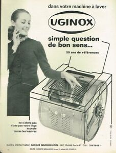M Publicité Advertising 1969 Uginox Acier Inoxydable Machine à Laver Other Breweriana Collectibles