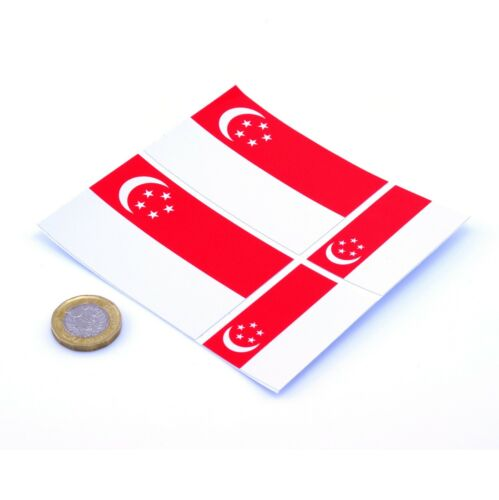 "Singapore Flag Stickers x4 3/"" /& 2/"" Car Vinyl Rally Racing Window Decals"
