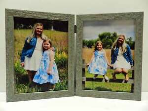 8x10-Aqua-Blue-Rustic-Double-Hinged-Vertical-Wood-Photo-Picture-Frame-New