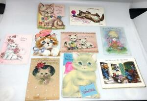 LOT-9-CAT-KITTEN-GREETING-CARDS-ASSORTED-CRAFTS-VINTAGE