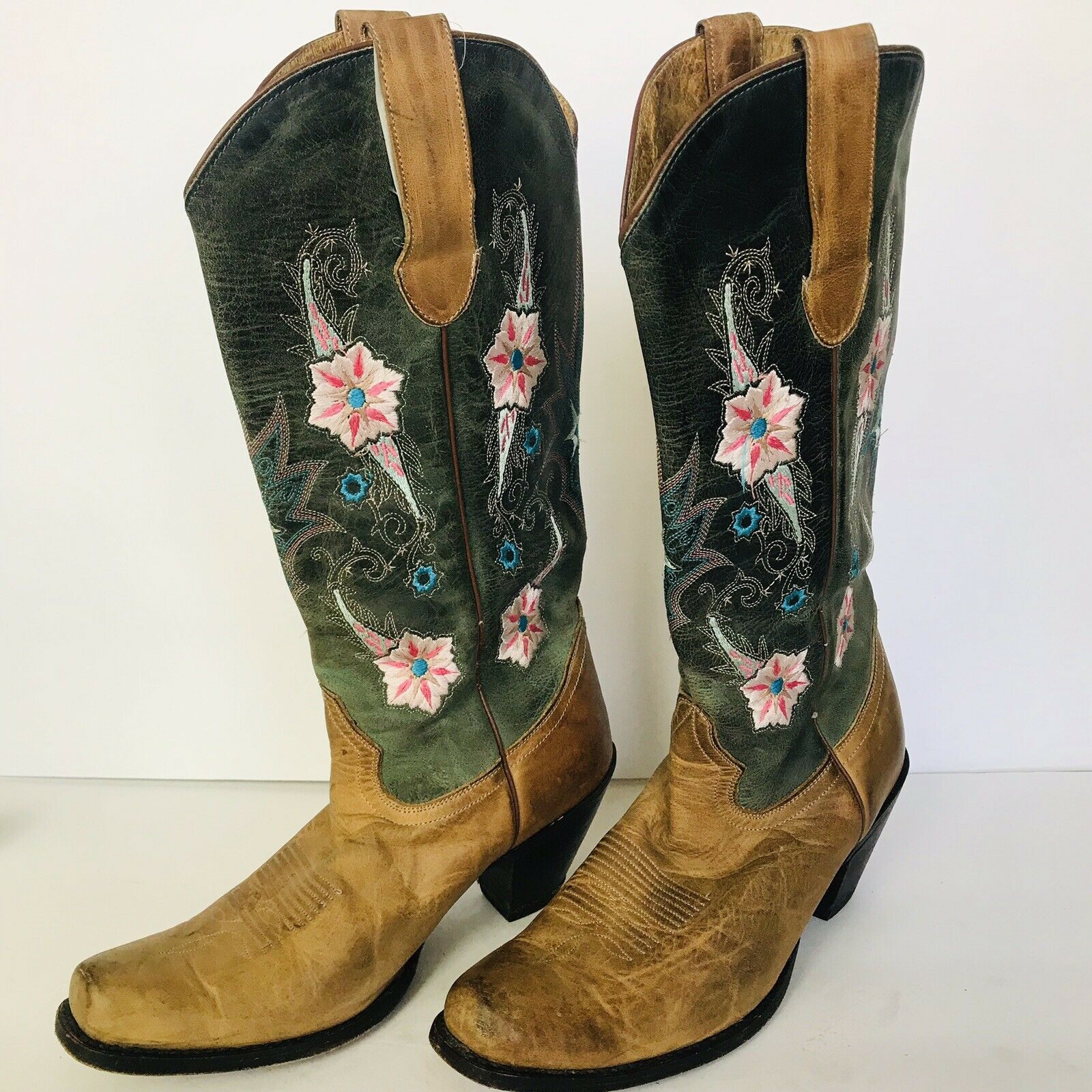 SONORA  BROWN LEATHER EMBROIDERED FLORAL COWBOY WESTERN BOOTS FESTIVAL WEAR  9