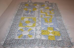 Handmade blue gingham yellow quilt wall hanging patchwork applique