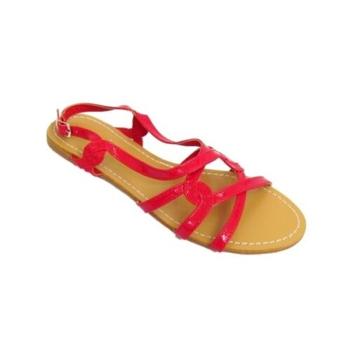 Women Glossy Red Leather-Look Summer Casual Beach Sandal Ladies size 3 4 5 6 7 8