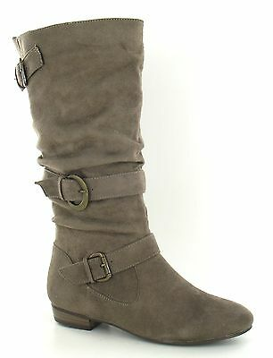 Ladies taupe suede effect   buckle detail flat boots. F50067.