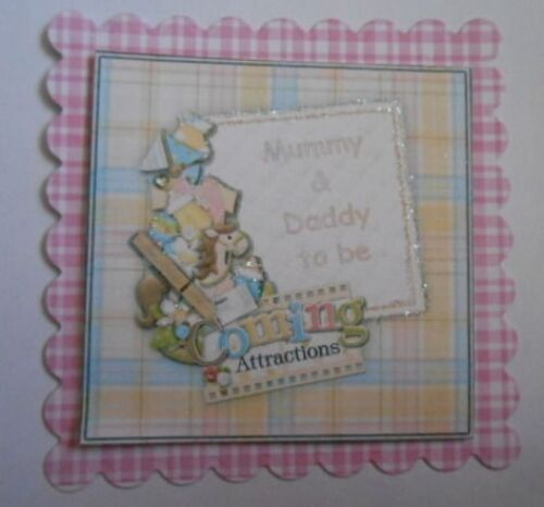 PK 2 BABY GIRL MUMMY AND DADDY TO BE EMBELLISHMENT TOPPERS FOR CARDS AND CRAFTS
