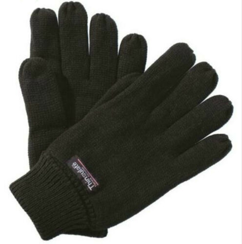 Mens Ladies Regatta Thinsulate LinedThermal Warm Winter outdoor Gloves Black