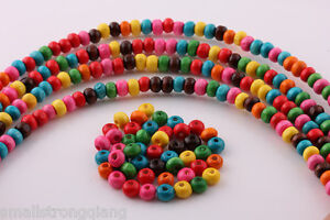 1000-Pcs-Mixed-color-Wood-Spacer-loose-flat-beads-Necklace-charms-findings-6x4mm