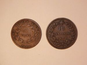 2-Pieces-Italie-10-Cent-1893R-et-One-cent-East-India-Company-1845-Lot-9