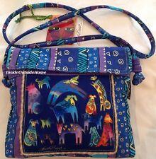Laurel Burch Mythical Dogs Dancing MS Crossbody Shoulder Tote Bag Blue Purple N