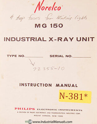 Norelco MG-150, MG300 Xray Unit Instructions Installation and Wiring on