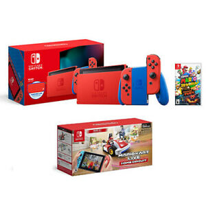 Nintendo Switch Mario Red & Blue Edition + Super Mario 3D World + Bowser's Fury