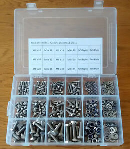 345PC ASSORTED M5 M6 M8 STAINLESS STEEL ALLEN BOLTS CAP HEAD REFILL PACK