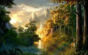 Home-Art-Wall-Decor-Psychedelic-Castle-Oil-Painting-Picture-Printed-On-Canvas