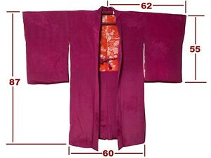 Lovely Vintage Wine Color 'Rinzu' Silk Ogi Fan Design Naga-Haori: 'Kiri-Mon'